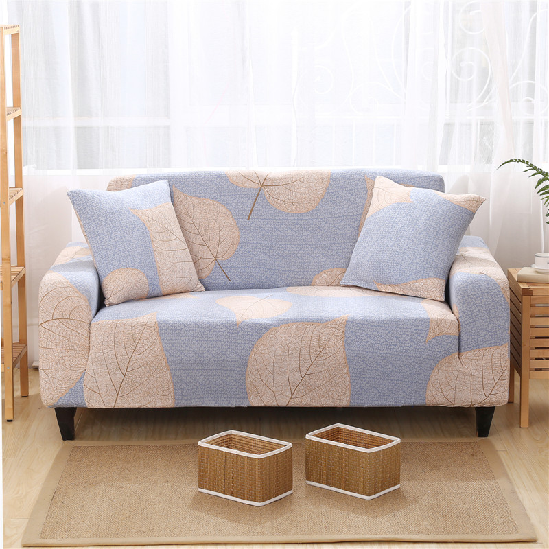 Brief Style Leaves Designer Universal Sofa Cover Elastic Stretch Sofa  Slipcovers For Single Double Three Four Seater Protector