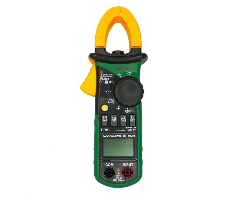 Auto Range DC AC Current Digital Clamp Meter Multimeter Mastech MS2108A Voltage Frequency Meter Tester Backlight mini multimeter holdpeak hp 36c ad dc manual range digital multimeter meter portable digital multimeter