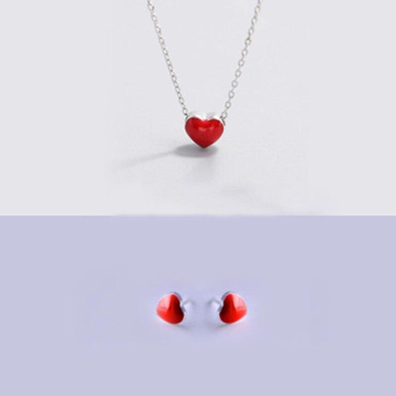 Schmuck Sets Gnimegil 925 Solide Silber Überzogen Frauen Schmuck Mode Tiny Rot Herz Stud Ohrringe Halskette Sets Geschenk Für Mädchen Kinder Dame