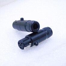 באיכות גבוהה שחור 1 יח\חבילה מיני xlr 4 פינים נקבה אודיו מיקרופון מחבר מיני XLR מחבר עם מעטפת פלדה 105B