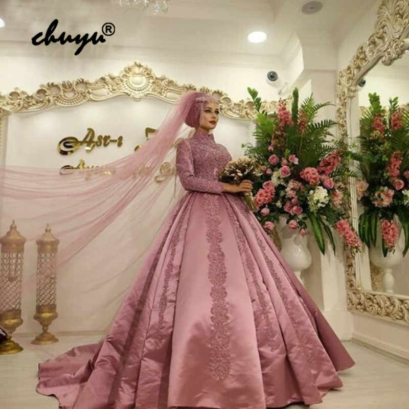 Dark Pink Muslim Wedding Dresses Satin Long Sleeves Appliques