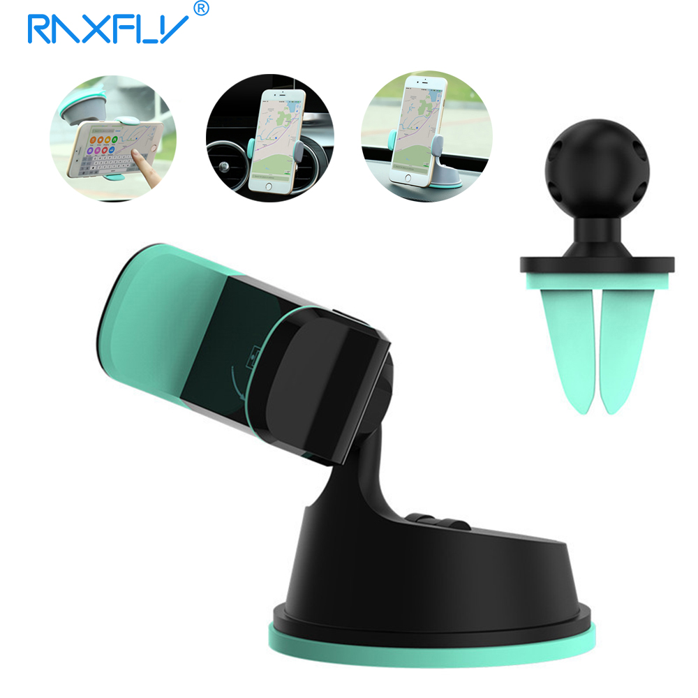 RAXFLY Car Holder Mobile Phone Holder Stand For iPhone Samsung Air Vent Mount 2 in 1 360 Rotatable Desk Holder For 3.5 6 Phone