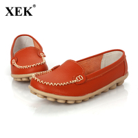 XEK 2018 Women genuine Leather Shoes Slip on women Flats Comfort shoes woman moccasins Spring summer shoes drop shipping