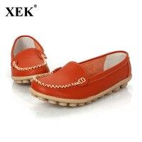 Xek 2018 женская обувь из натуральной кожи женские слипоны на плоской подошве удобная женская обувь Мокасины весна лето обувь доставка
