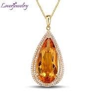 Vintage Pear 12x26mm 14Kt Yellow Gold Natural Diamond Citrine Pendant Necklace Luxury Design for Women ESR13
