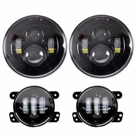 DOT Approved 2x 7 Inch Round Daymaker LED Headlights Lamp Projection 2x 4 Fog Lights Driving
