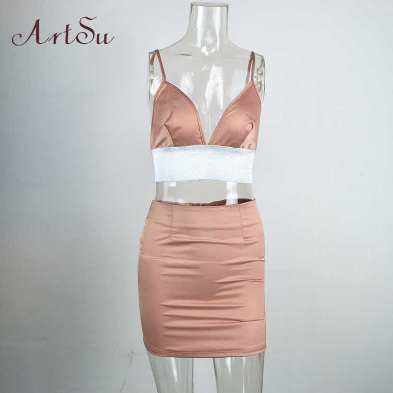 6bc2fa0b74e ... ArtSu Women 2 Piece Set Summer Sexy Crop Top Skirt Female Satin Suits  Ladies SummerOutfits Club ...