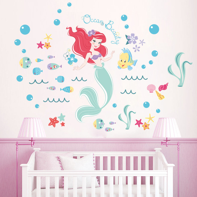 Cute The Little Mermaid Wall Stickers For Kids Rooms Home Decor Bathroom  DIY Poster Animal Wallpaper