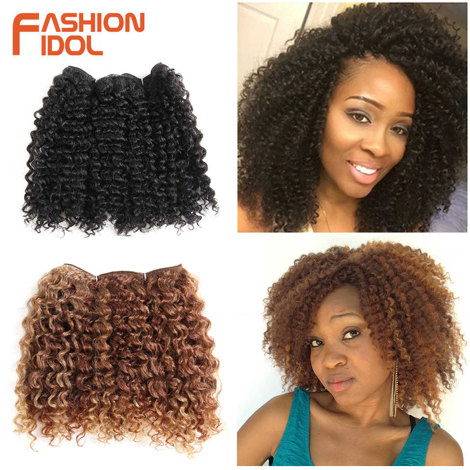 dcc49ce99874d FASHION IDOL Short Kinky Curly Synthetic Hair 2pcs lot For Black Women 12  inch Afro