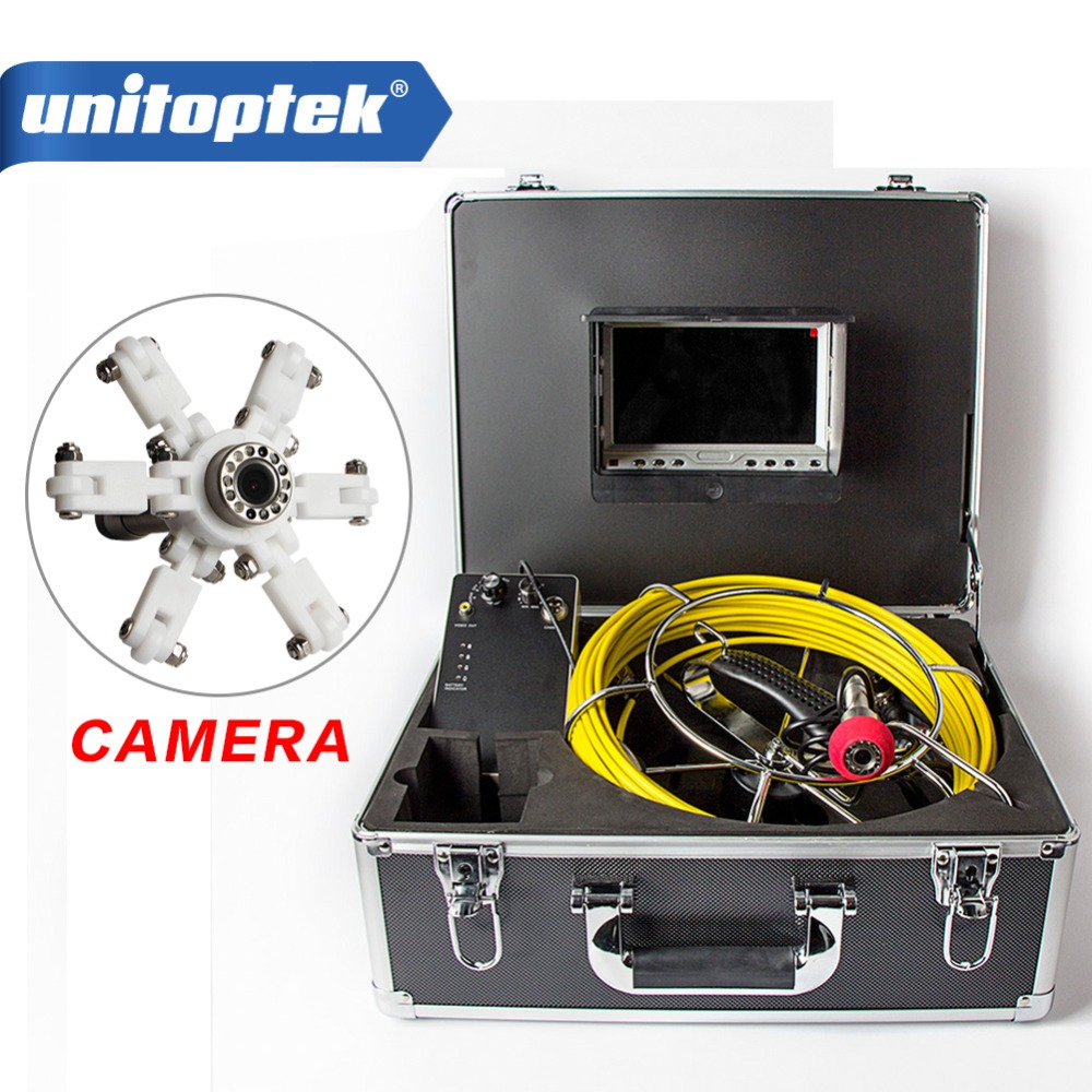 7'' TFT LCD Waterproof Pipe Sewer Inspection System CMOS 1000TVL 12 Leds Night View Endoscope Camera With Fiberglass Rod Cable