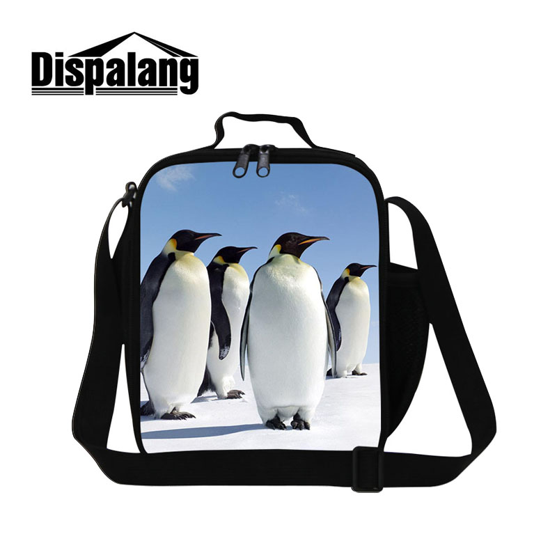 Dispalang Cute Penguin Seals Pattern Take-away Shoulder Bags Ice Pack Cooler Bag Food Container For School Insulated Lunch Bag