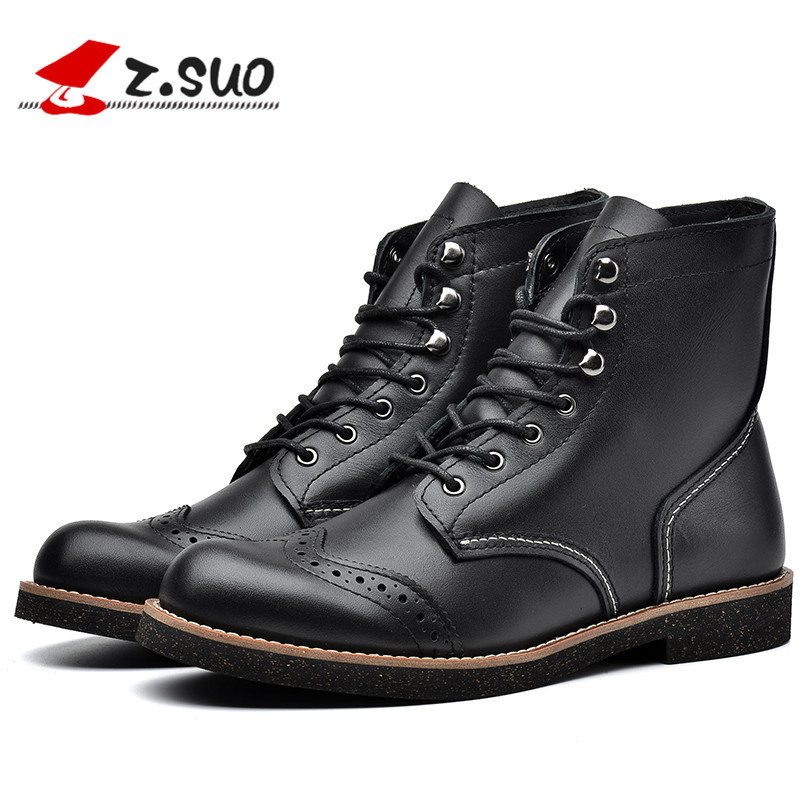 Z.Suo High Quality Brand Mens Genuine Cow Leather High Top Boots Man British Retro Cowboy Brogues Casual Short Boots ZS16701 the new high quality imported green cowboy training cow matador thrilling backdrop of competitive entrance papeles