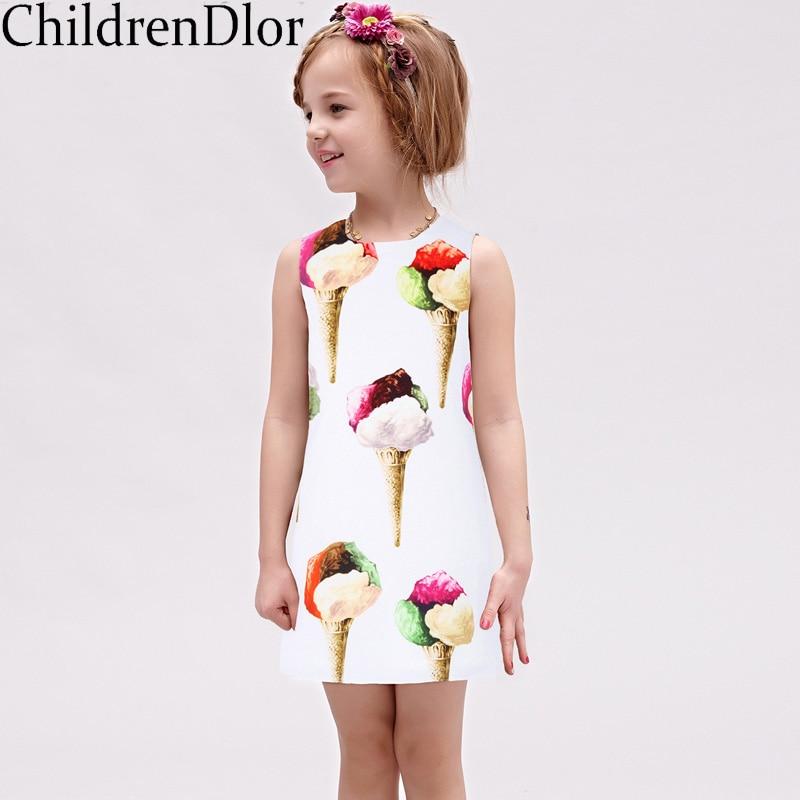 Girls Summer Dresses 2017 Brand Vestido Princesa Kids Dresses for Girls Clothes Princess Costume Ice Cream Print Children Dress