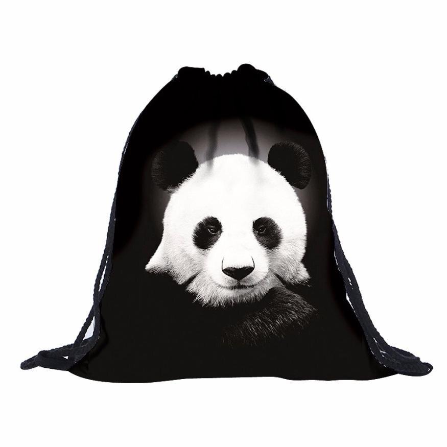 39cm*30cm Mens Womens lovely Panda Print Shoulder Drawstring Bag Backpack String Bags School Rucksack Gym Fast ship 17a23