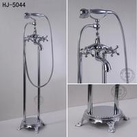 Shower Faucets Bathroom Shower Head Floor Bathtub Mixer Taps Chrome Telephone Classic Style Shower Sets Plumbing Crane HJ 5044