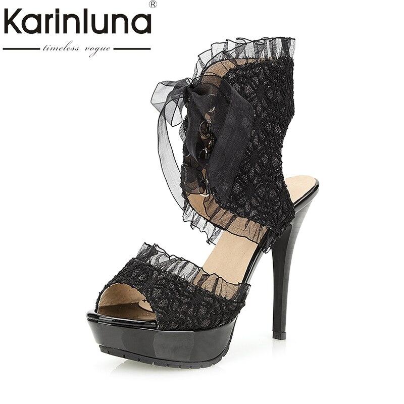 Karinluna Hot Sale Big Size 34-43 Summer Brand Design Shoes Women Sexy Thin High Heels Fashion Platform Sandals Shoes hot sale big size 32 44 fashion spring autumn women shoes sexy solid pu leather platform ankle strap high heels augz 958