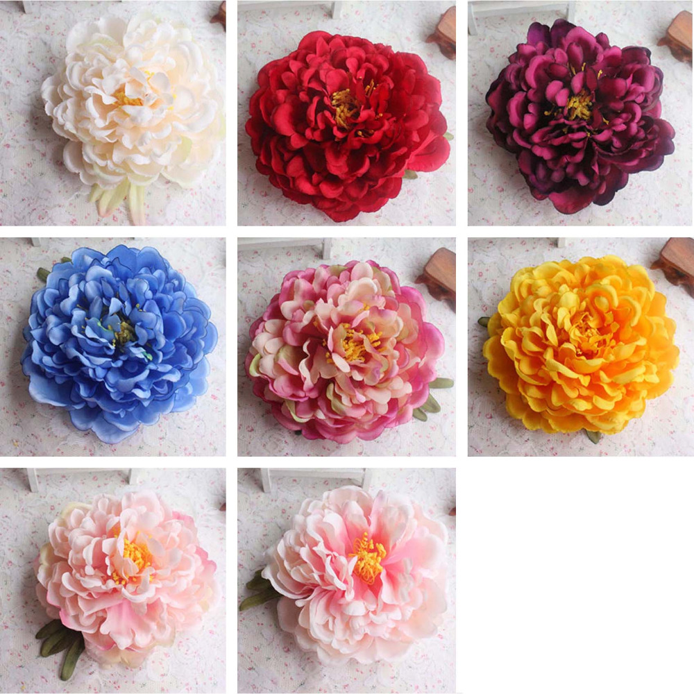 10pcs15cm Headmulticolor Real Touch Silk Flower Peony Heads Large