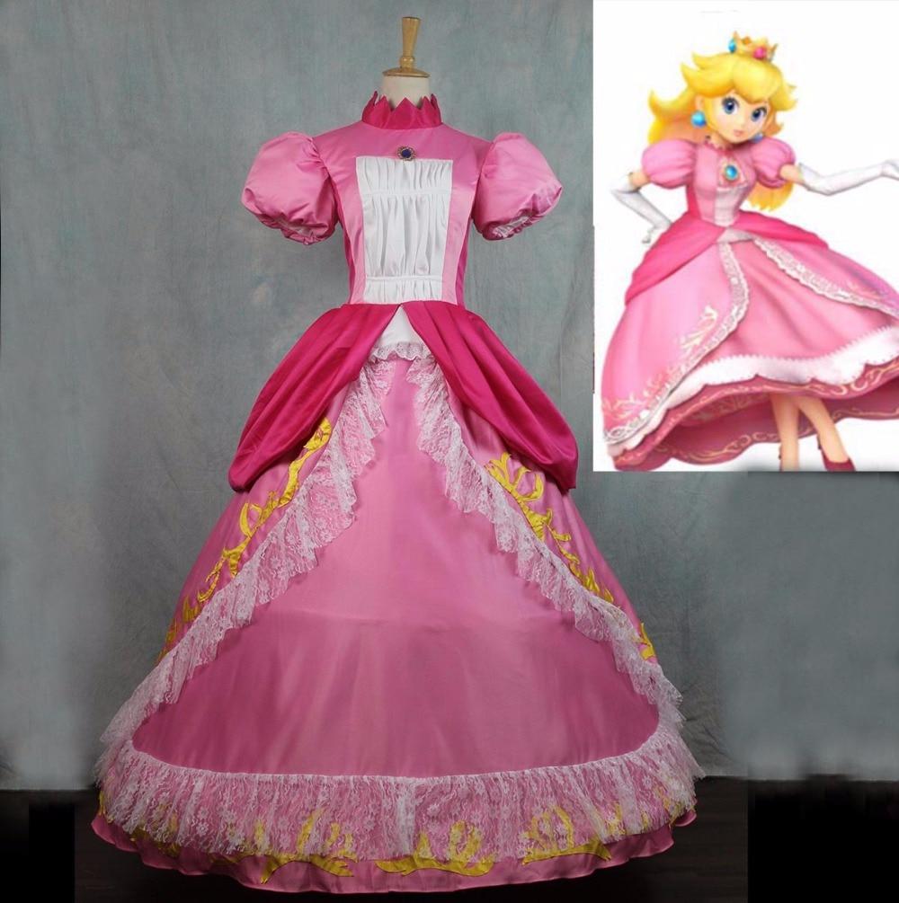 Sensfun 2017 Super Mario Princess Peach Sister Dress Cosplay Costume For Adult Women Halloween Costume Dress Custom Made