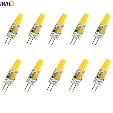 IWHD 2W <font><b>COB</b></font> G4 <font><b>LED</b></font> <font><b>12V</b></font> Bulb 120LM Mini 220V <font><b>LED</b></font> G4 Bi-pin Lights Warm White/White Replace Halogen Chandeliers 10PCS image