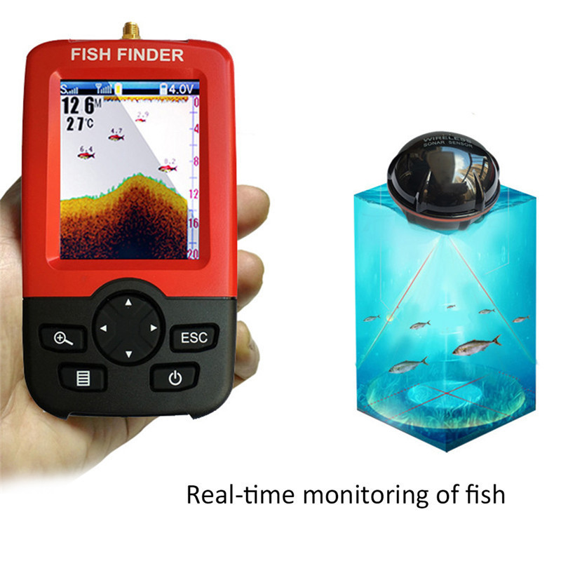 Portable Fish Finder Sonar Sounder Alarm Transducer Fishfinder 100M Fishing Wireless Echo Sounder with English Display lucky ffw1108 1 color lcd display portable wireless sonar fish finder water resistant 40m 120ft depth sonar sounder alarm b9