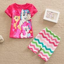 2017 Summer My Little horse print Babys Sleepwear Girls Clothing Children's cotton Pyjamas sets for kids shirt and shorts suits