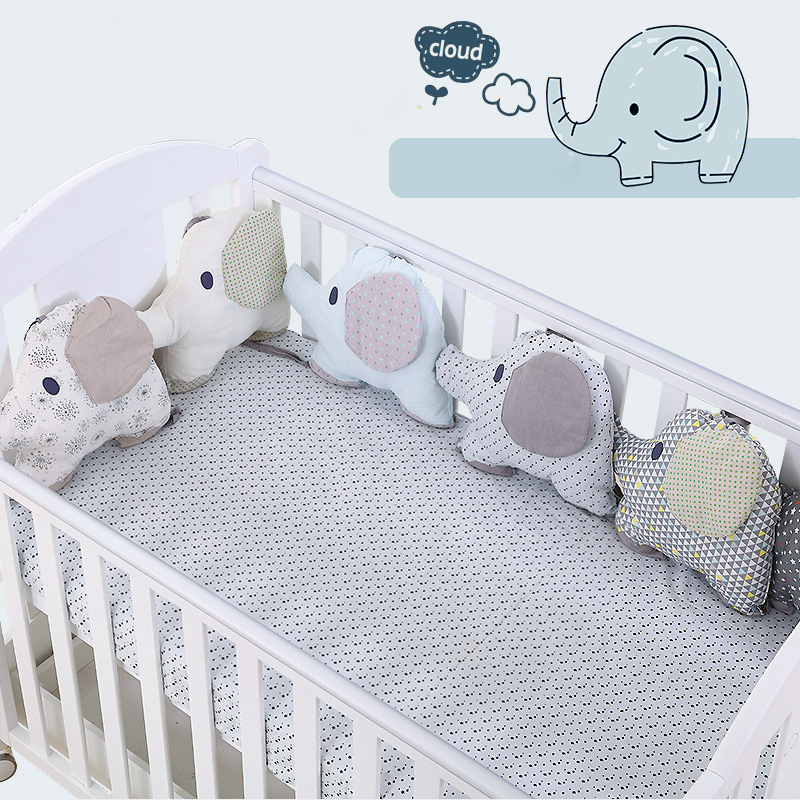 Professional Sale Cotton Animal Elephant Monkey Lovely Baby Bed Bumpers Soft Bed Arround Baby Bedding Protection Bumper Pillow Cushion Baby Bedding