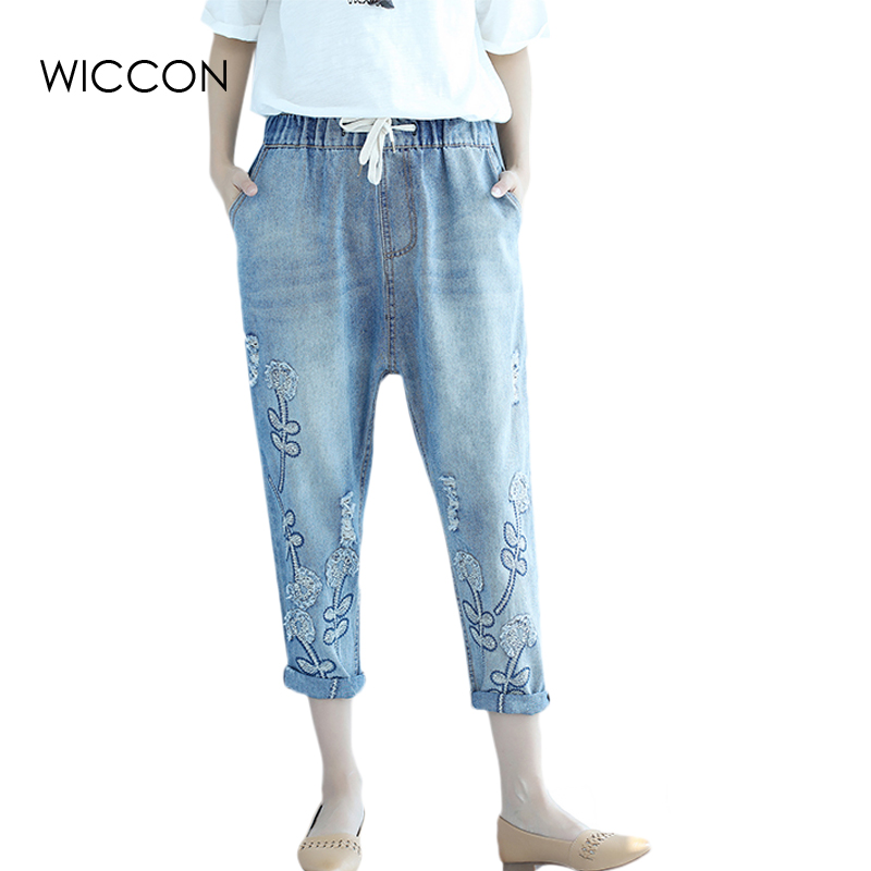 Women Summer Harem Pants Elastic Drawstring Jeans Casual Denim Vintage Fashion Large Loose Retro Floral Embroidery Jeans WICCON new summer vintage women ripped hole jeans high waist floral embroidery loose fashion ankle length women denim jeans harem pants