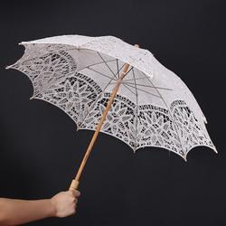 Koronkowa czysta bawełniana haftowana Parasol ślubny Parasol Handmade parasole druhna ślubna dekoracja|handmade umbrella|wedding umbrellaumbrella parasol -