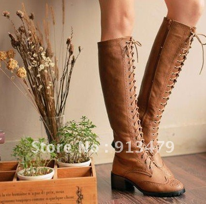 bf8e63cd25a3 Womens Ladies Elegant Lace Up Side Up Low Block Heel Knee High Oxford Boots  Shoes-in Over-the-Knee Boots from Shoes on Aliexpress.com