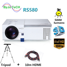 где купить ByJoTeCH RS580 Full HD 1080P LED projector 5000 lumens Built-in Double HIFI speakers 3D Proyector With 10m HDMI Tripod по лучшей цене