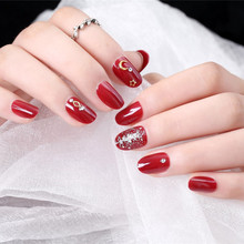 24Ppcs Japanese Style Full Cover Fake Nail 3D Star Moon Rivet Black Red Blooming Color Short Cartoon Art Tips