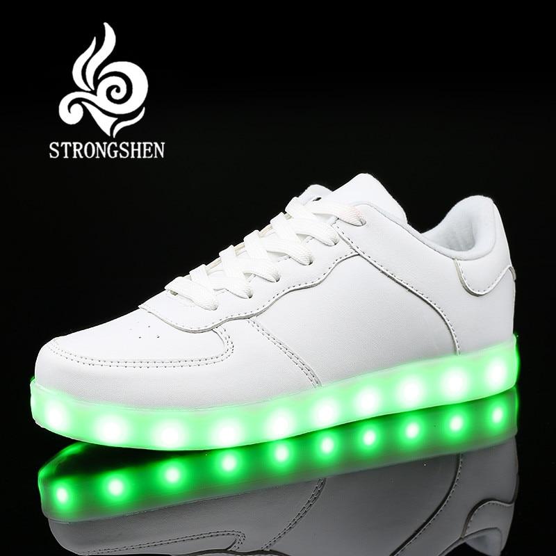 STRONGSHEN Led Shoes for Boys girls Fashion Light Up შემთხვევითი ბავშვები 5 ფერები გარე ახალი სიმულაცია ერთადერთი მბზინავი ბავშვთა sneaker