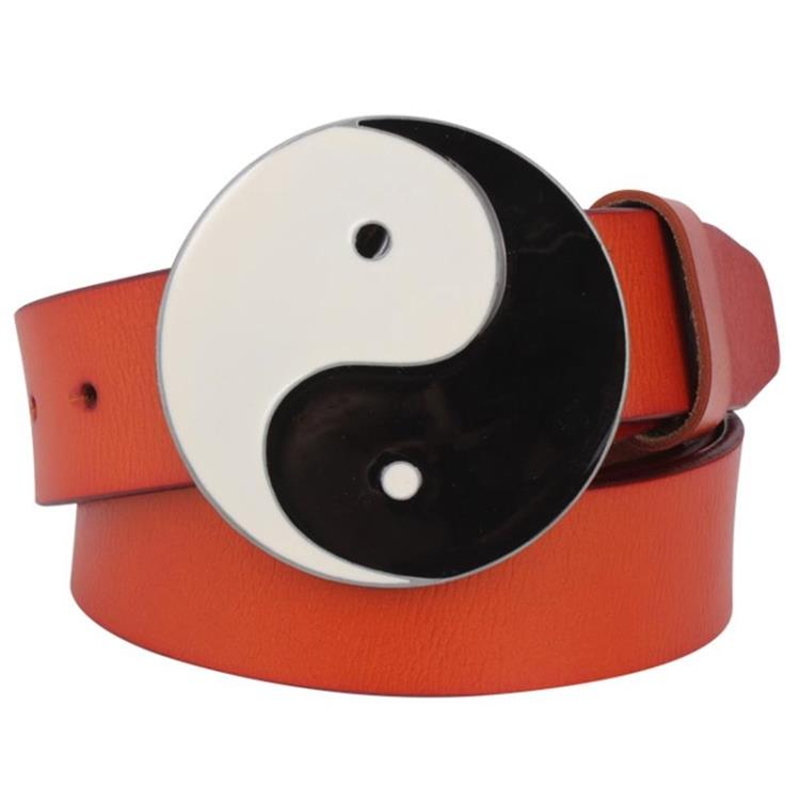 Mens belt genuine Leather metal buckle Tai Chi gossip belt taegeukgi pattern Primal chaos Eight Diagrams belt punk rock women