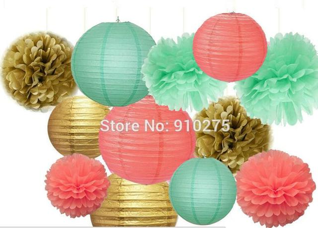 12pcs Mixed Gold Coral Mint Green Party Tissue Pom Poms Hanging ...