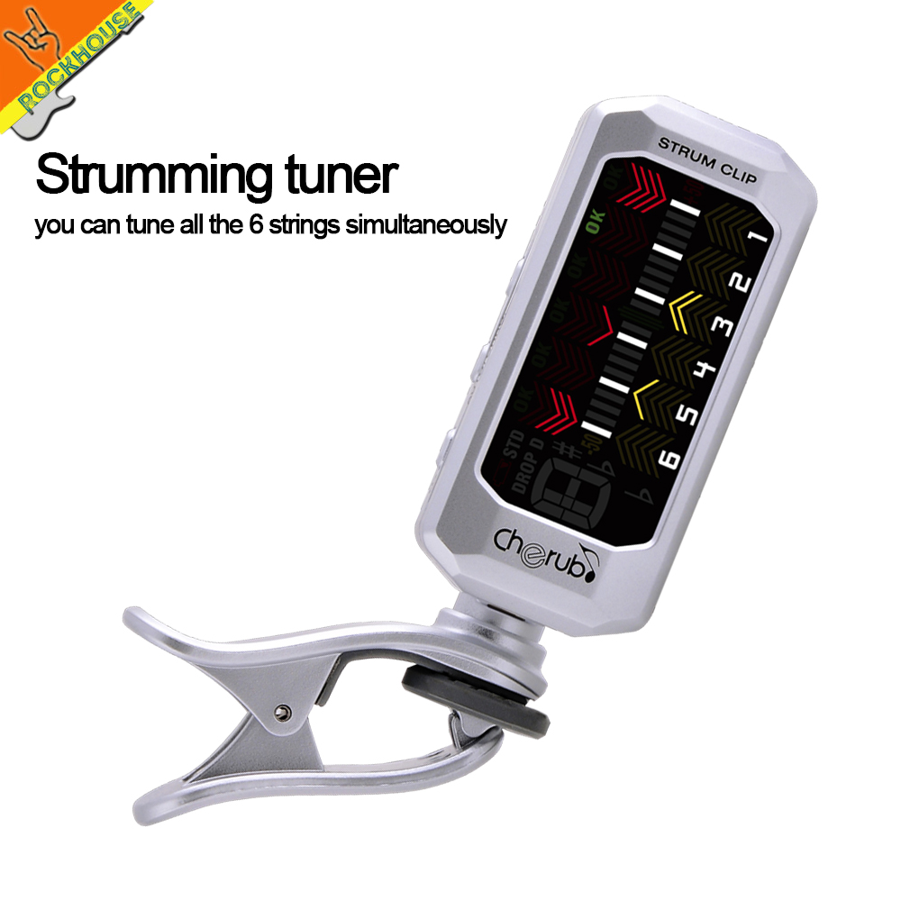 NEW Cherub Strum-Clip Tuner Clip-on guitar tuner Tune the 6 strings simultaneously Rechargeable lithium battery free shipping