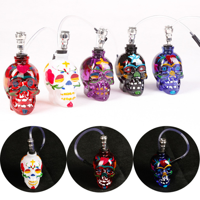 Smoke Pipe Glass Water Pipe Hookah Shisha Colorful Skull Head Pipe with Tube Tobacco Holder Filter Narguile Drop Shipping