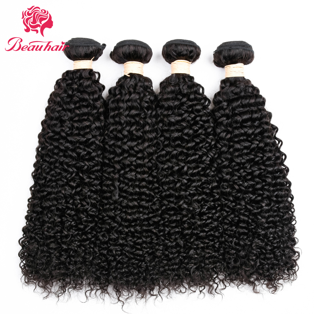 Beau Hair Brazilian Kinky Curly Hair 4 Bundles Natural Color 10-26 Inch Afro Hair Bundles Deal Non Remy Human Hair Extensions