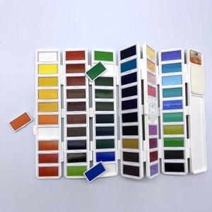 Image 3 - Superiore 18/38/58 Colori Fold Solido Pittura Ad Acquerello Set Con Pennello di Acqua e Articoli da Regalo Casella di Acquerello Pigmento per la pittura di colore di Acqua