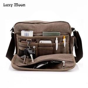 Image 1 - High Quality Multifunction Canvas Bag travel bag men messenger bag brand mens crossbody bag luxury vintage style briefcase w304
