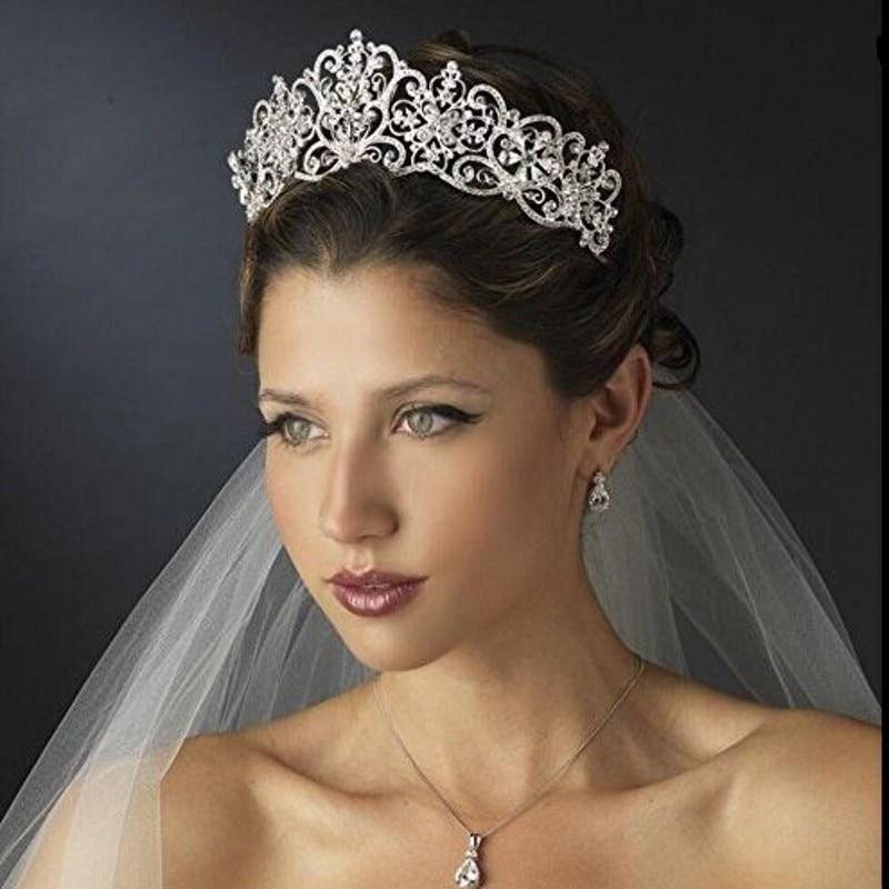 Strass Cristal De luxo Royal Princess Nupcial Tiaras Crown Rhinestone Pageant Coroas Tiaras de Noiva Acessórios Do Cabelo Do Casamento