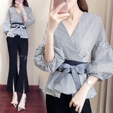 Spring and aummer new style Fashion temperament shirt + split wide-leg pants Korean fashion two piece suit