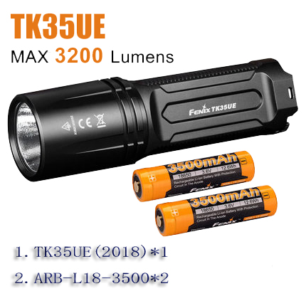 2018NEW led torch lamp lighting Fenix TK35UE batteries ARB L18 3500 2