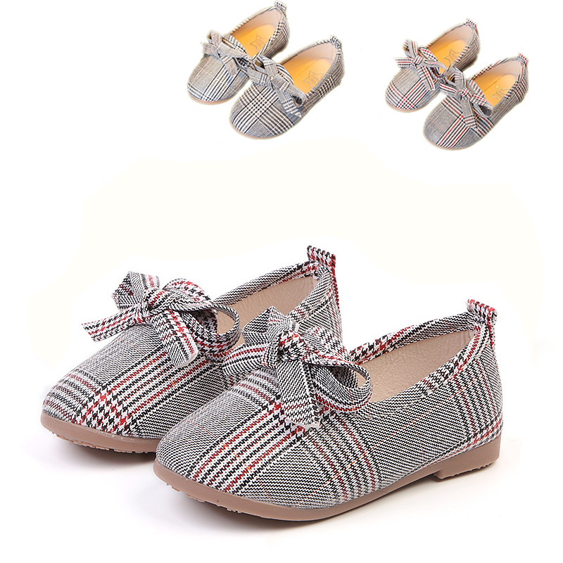 Bavoirsj Bowtie Pointe Plaid Cotton Baby Shoes For Girls Boys Fashion School Shoes Flats B1990