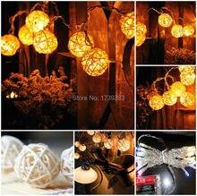 Free shipping LED Wicker Balls Wedding Party String Lights Hand Weaved Rattan String Ball Lantern Xmas Ball