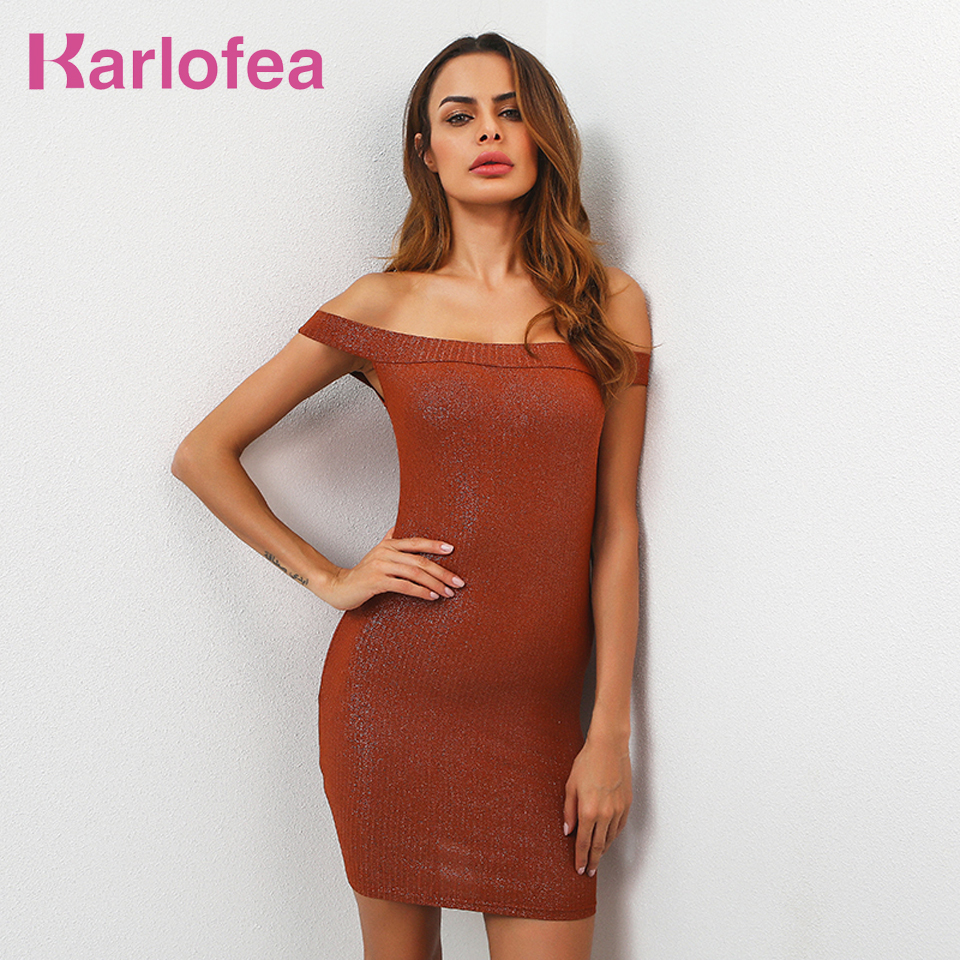 Karlofea women vintage dress off the shoulder solid bodycon mini dress sexy strapless vestidos robes ladies knitted summer dress