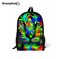 WHOSEPET Zoo Backpacks For School Students Boys Girls Fashion Schoolbags Tiger Printing Rucksack Teenagers Laptop Backpack