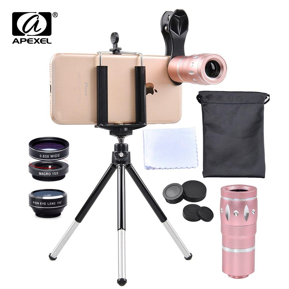 imágenes para APEXEL 6 EN 1 kit de la lente de la cámara 10X de Zoom de teleobjetivo + fisheye lente gran angular y macro Para iPhone7 6 S plus xiaomi JS10XDG3ZJ
