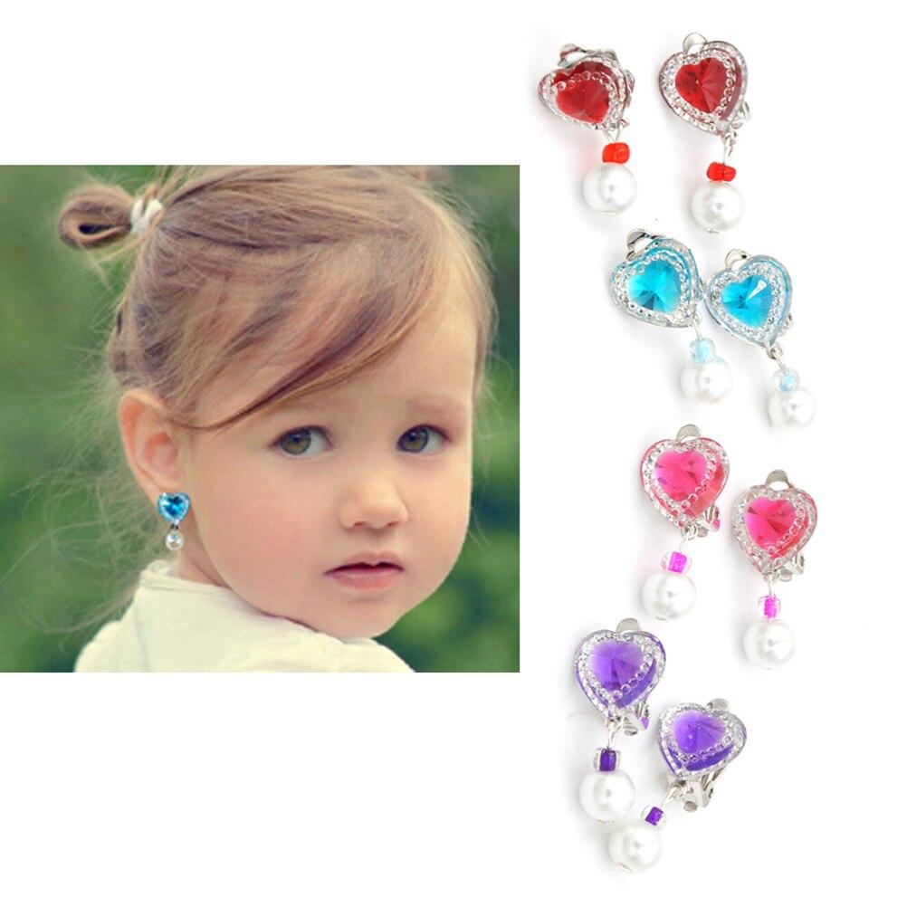 1 Paar Nette Kinder Kristall Schmuck Baby Mädchen Ohrringe Kinder Ohr Clip Kein Piercing Ohrringe Imitation Perle Ohrringe Schmuck