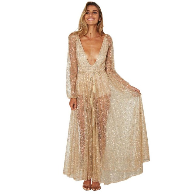 f885389daf2e Women Sexy Deep V Neck Long Sleeve Gold Sequin Dress Glitter Party Maxi  Dresses Sexy Backless Club Evening Robes Vestidos YF681