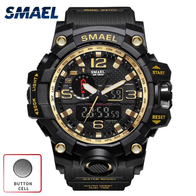 SMAEL S Shock Militar Watch Sport Waterproof Digital Clock Men Dual Time Wrist Watch Army LED
